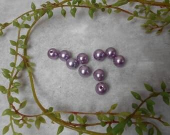 10 purple acrylic beads 10mm