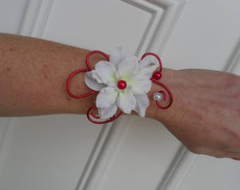 Bracelet - red and white - bridal artificial delphinium flowers