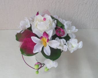 Table centerpiece - wedding-white and fuchsia floral decoration