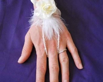 "No. 424) Ribbon ""wedding procession"" ivory flower Bracelet"