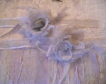"""Gray Ribbon flower adornment and lace """"procession white petals"""