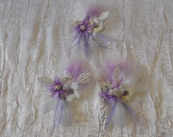 hair clip + a back drapes across the purple and ivory