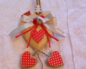 Wooden hanging Christmas red/silver hearts