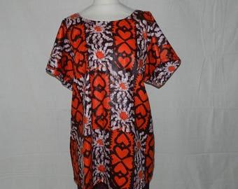Small geometric cotton fabric sleeve tunic blouse size unique T36 - 42
