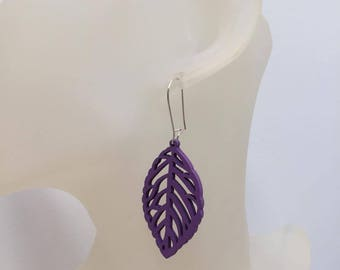 Purple wood leaf earrings