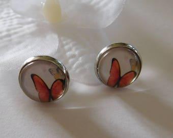 Red butterfly on white pattern Stud Earrings