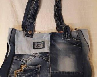 recycled denim, cotton fabric inside handbag