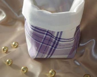 Empty basket Pocket fabric, reversible, purple/violet/cream color