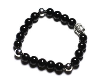 Buddha and gemstone - 8mm black Onyx bracelet