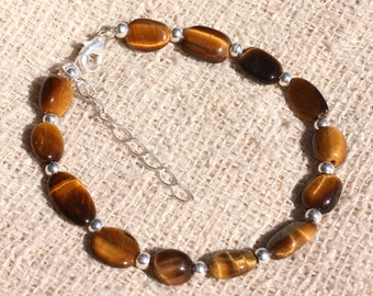 Bracelet 925 sterling silver and stone - 8-12mm oval Tiger eye