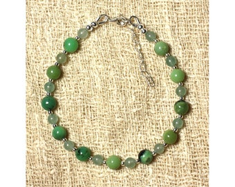 Bracelet with Chrysoprase and green Aventurine 4 and 6 mm and 925 sterling silver beads