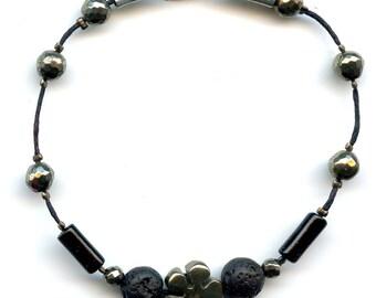 Lava stone and pyrite bracelet