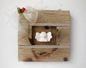 Table wooden pallet - deco with Angel and lace-shabby decoration Angel-gift idea for her