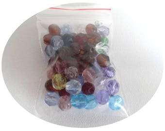 Bag 30 faceted 6mm multicolor beads