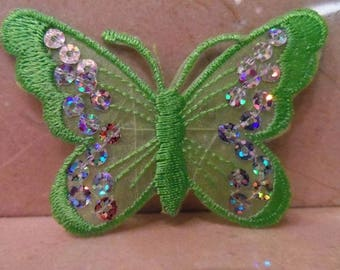 1 applique Butterfly lace and sequins 75 x 55 mm