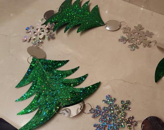 1 meter of trees and snowflakes Garland trim