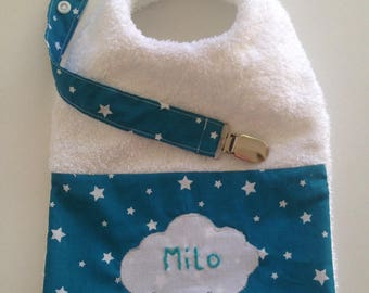 Birthday gift idea! Personalized bib and pacifier clip
