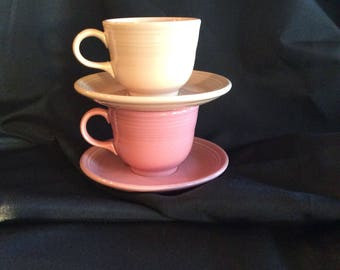 Vintage coffee cups, Fiesta by Homer Laughlin 2 cups with saucers in pink peach, fiesta coffee cup and saucer, fiesta retired pink flamingo
