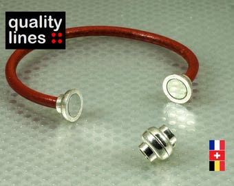 Silver magnetic clasp for leather bracelet 5mm round