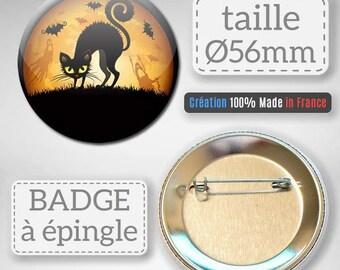 Halloween gift idea black cat badge party 56 mm