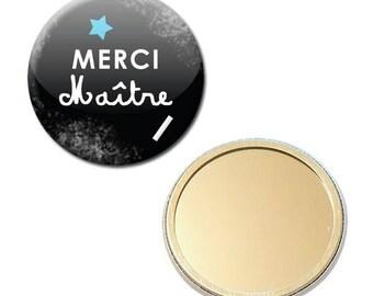 Mirror Pocket Badge 56 mm - thank you teacher Blackboard chalk school preschool gift