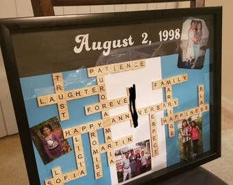 Large Personalized Scrabble Crossword Box