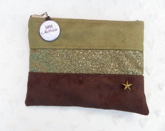 Zipped hand clutch in suede: khaki and Brown