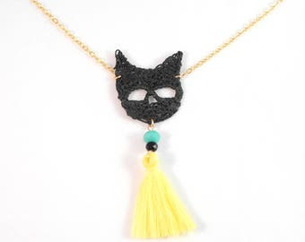 Gold Filled necklace - Crochet - black - Pompom yellow lemon Cat Head