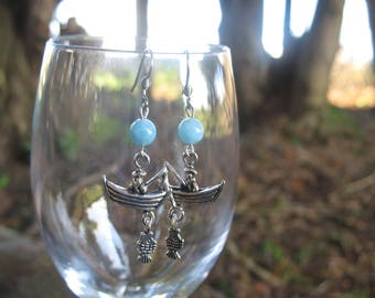 Fisherman boat earrings and aquamarine