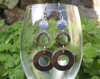 Circles and blue quartz stainless steel earrings