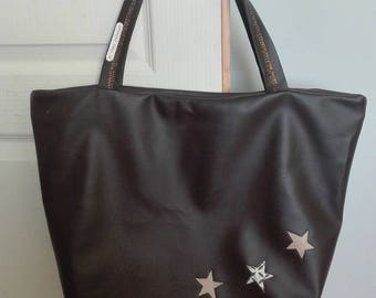 Brown faux leather star tote bag