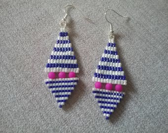 White Sea Blue and fuchsia earrings