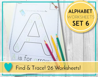 Alphabet Worksheets, Find and Trace, ABC Printables, Preschool & Kindergarten Learning, Teaching Education Resource, Kids Activities