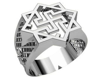 Valkyrie Valkirie Symbol Ethnic Men Ring Sterling Solid Silver 925 SKU30218