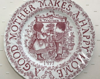 1977 Royal Croconford A tribute to mother all year long, Norma Sherman, decorative plate, vintage plate, garden scene, hanging plate