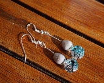 job's tears and transparent blue cracked glass bead earrings
