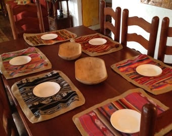 COUNTRY FARM-COTTON TABLE PLACE MATS AND BURLAP