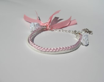 White and powder pink flower girl bracelet with ribbons