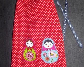 matriochkas, flowers and polka dot reversible DrawString bag