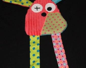 Flat plush rabbit pink and blue dots