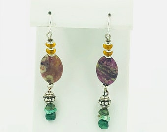 Purple Gold and Green Stone Earrings
