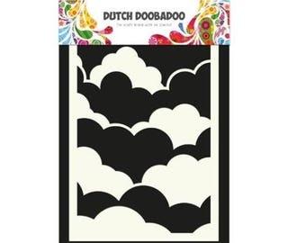 Stenciled Dutch Doobadoo Mask Clouds A6 New Stencil Art