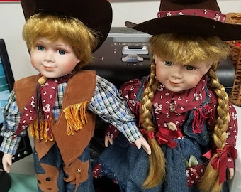 Cowboy and Cowgirl Porcelain Dolla