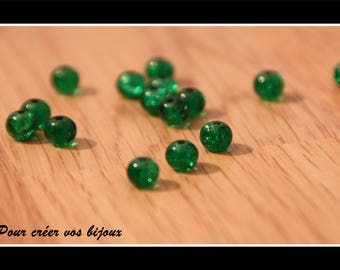 Set of 100 beads green 6mm crackled round glass bottle