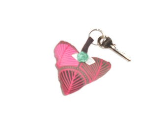 Heart Keyring in pink, Brown, green