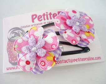 Flowers in fabric Hair clips barrettes - Choose your color