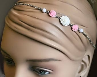 HeadBand flowers romantic cameo Vintage tiara white & Rose Cabochon