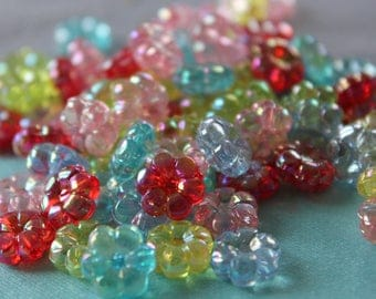 10 x acrylic flowers Mix shape beads