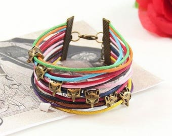 Multicolored cords with little foxes metal multi strand bracelet