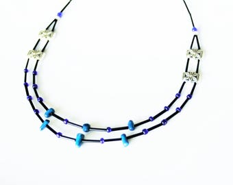 Necklace double strand necklace with Tibetan silver and blue coral